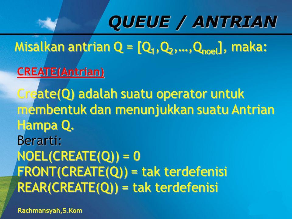 QUEUE / ANTRIAN Misalkan antrian Q = [Q1,Q2,…,Qnoel], maka: